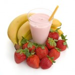 Smoothie made with strawberries and bananas