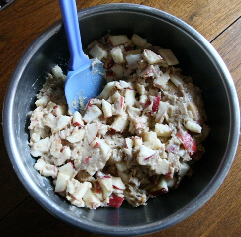 Not your typical cake mixing! Mostly healthful apples, with walnuts ...
