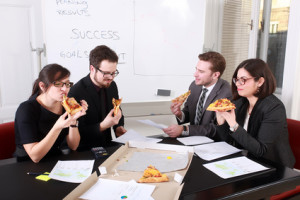 Look familiar? Pizza is a popular workplace food.