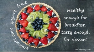 fruit tart with words