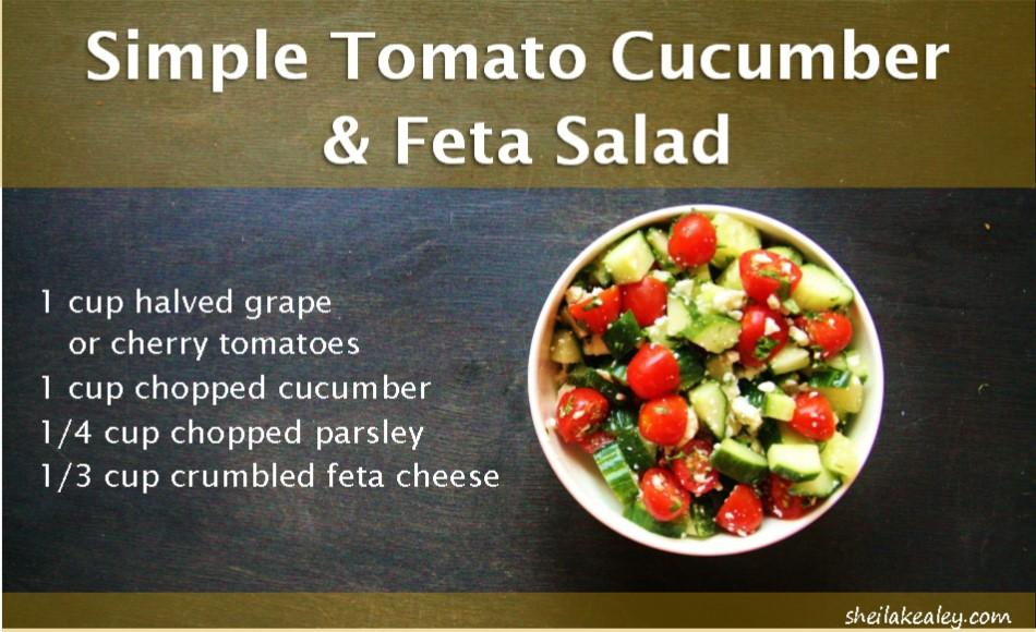 simple tomato cucumber and feta salad