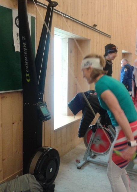 Warming up on ski erg